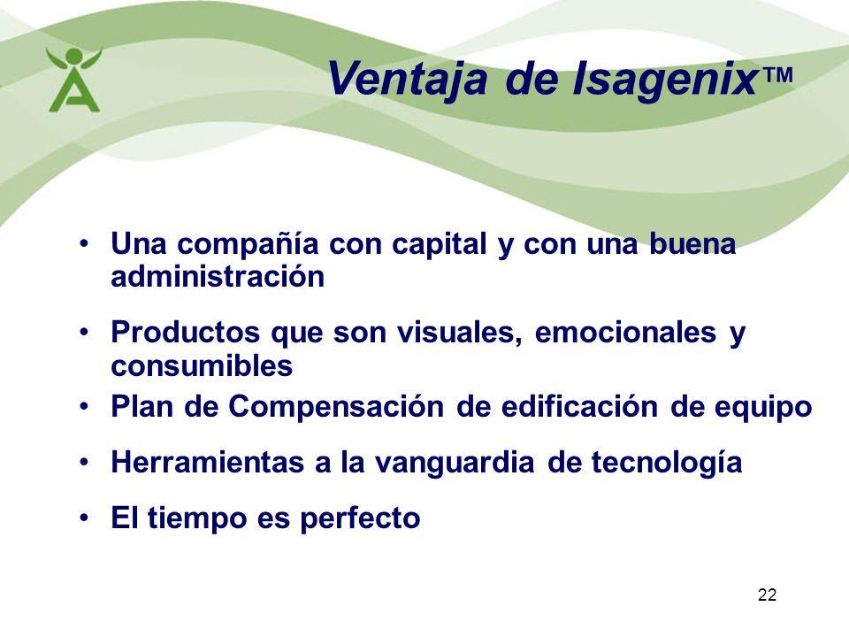 22 Ventaja de Isagenix Una compañía con capital y con una buena administración Productos que son visuales, emocionales y consumibles Plan de Compensac