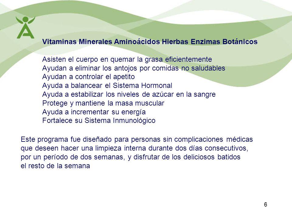 6 Vitaminas Minerales Aminoácidos Hierbas Enzimas Botánicos Asisten el cuerpo en quemar la grasa eficientemente Ayudan a eliminar los antojos por comi
