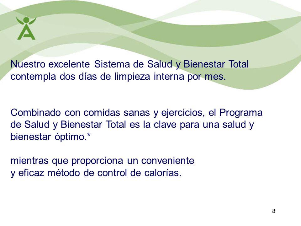 8 Nuestro excelente Sistema de Salud y Bienestar Total contempla dos días de limpieza interna por mes. Combinado con comidas sanas y ejercicios, el Pr