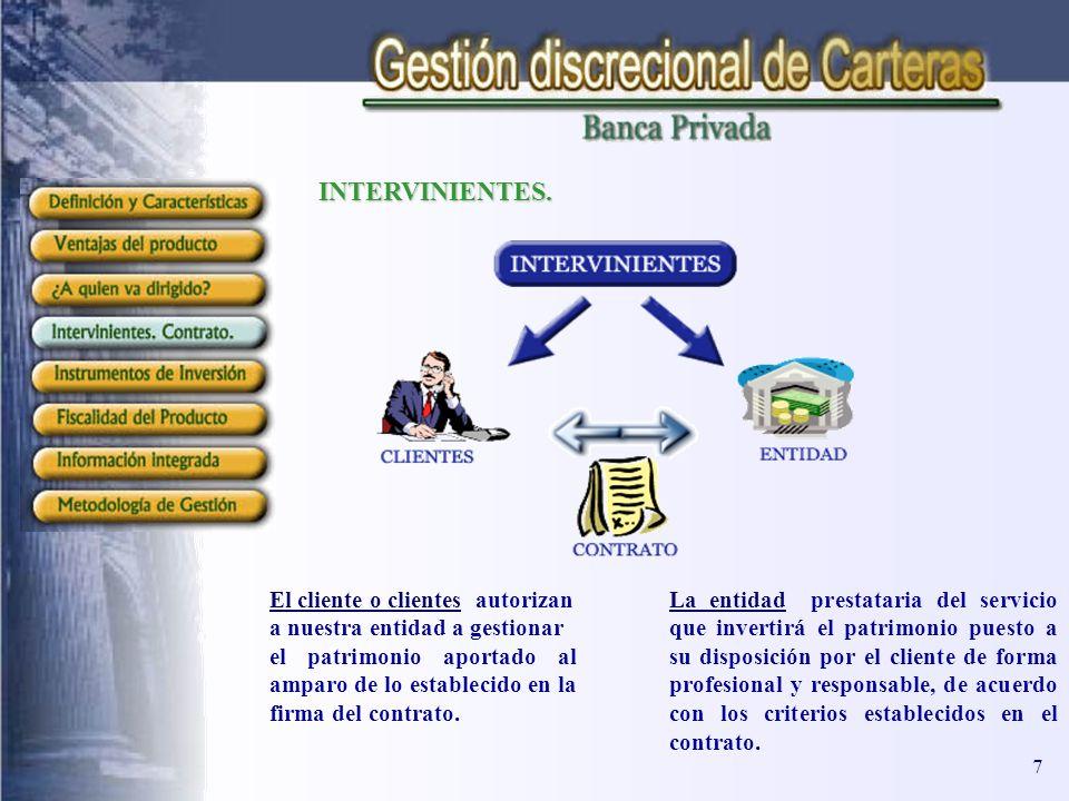 INTERVINIENTES. El cliente o clientes autorizan a nuestra entidad a gestionar el patrimonio aportado al amparo de lo establecido en la firma del contr