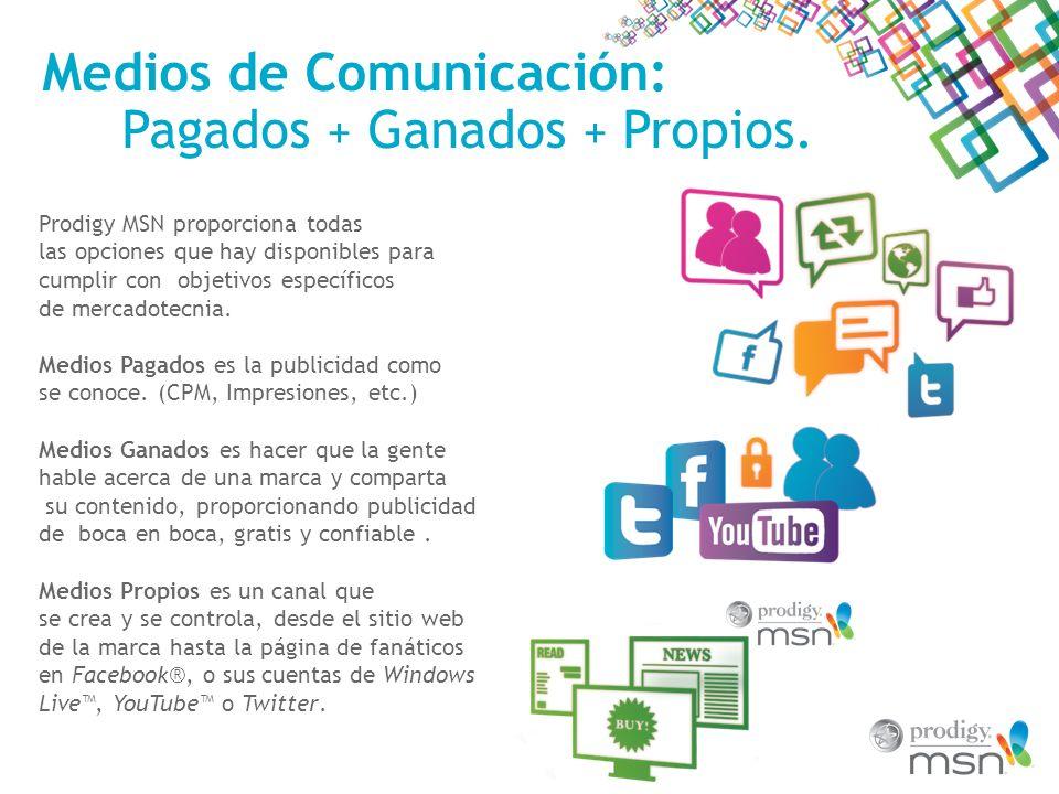 Medios Sociales Más que Sólo Charla Prodigy MSN ofrece una suite de productos amigables y creativos que impulsa la conciencia y el compromiso a través de los medios sociales.
