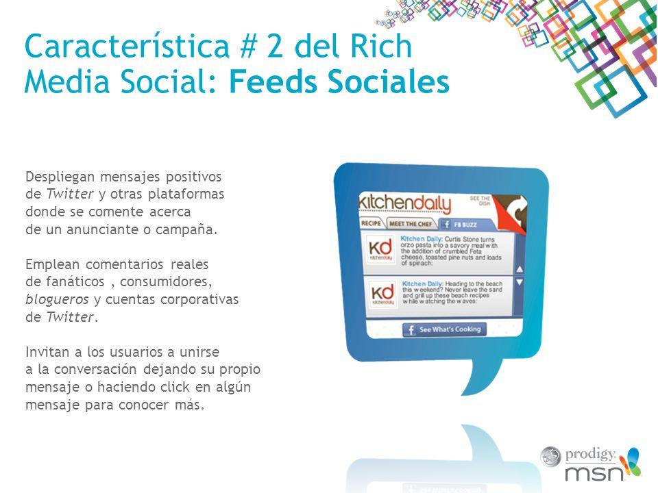 Característica # 3 del Rich Media Social: Reproductores de Video Social Permiten a los usuarios subir en forma fácil los videos en sus cuentas de Facebook, Twitter y Windows Live usando sencillos íconos.
