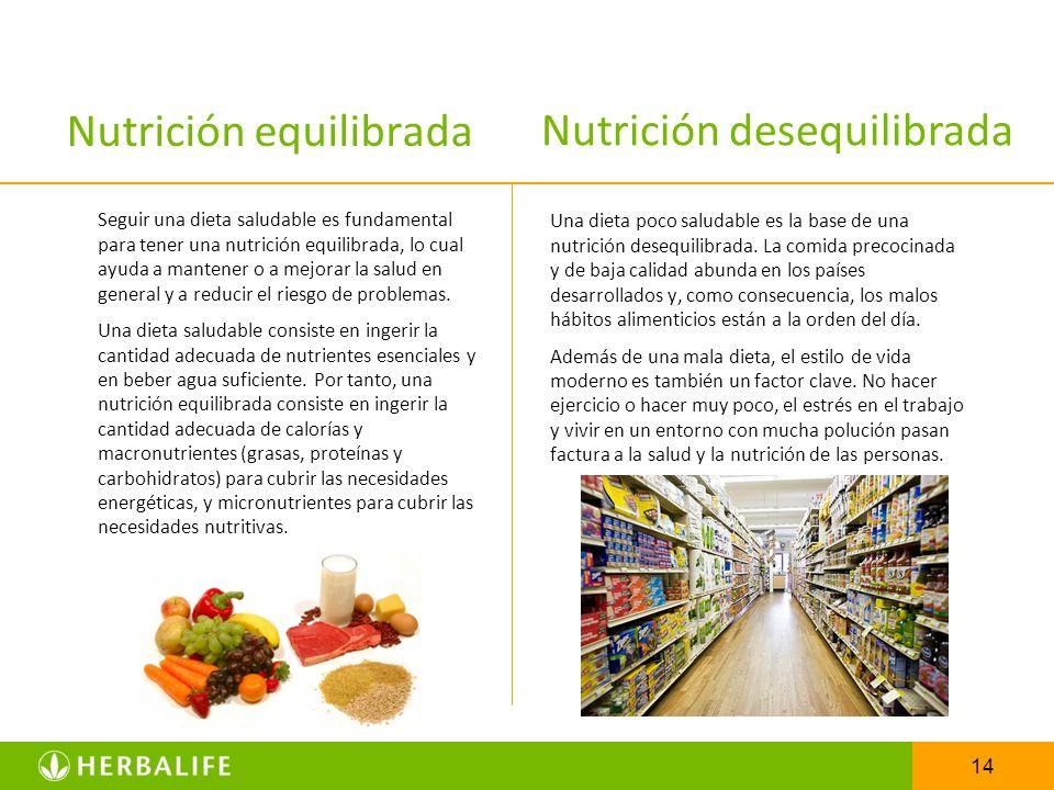14 Nutrición equilibrada Seguir una dieta saludable es fundamental para tener una nutrición equilibrada, lo cual ayuda a mantener o a mejorar la salud