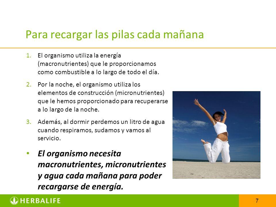 7 Para recargar las pilas cada mañana 1.El organismo utiliza la energía (macronutrientes) que le proporcionamos como combustible a lo largo de todo el