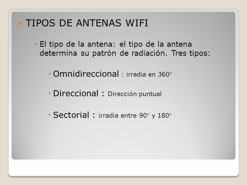 TIPOS DE ANTENAS WIFI El tipo de la antena: el tipo de la antena determina su patrón de radiación. Tres tipos: Omnidireccional : irradia en 360° Direc