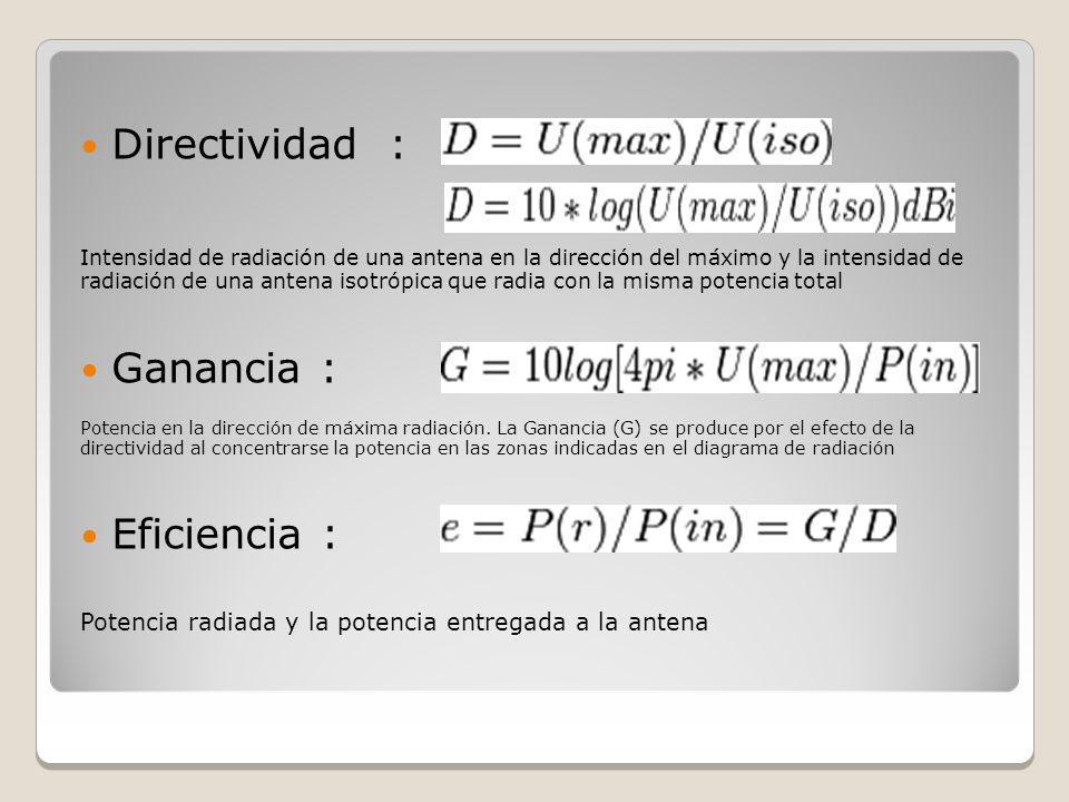 Directividad : Intensidad de radiación de una antena en la dirección del máximo y la intensidad de radiación de una antena isotrópica que radia con la