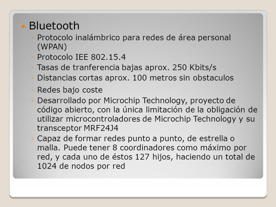 Bluetooth Protocolo inalámbrico para redes de área personal (WPAN) Protocolo IEE 802.15.4 Tasas de tranferencia bajas aprox. 250 Kbits/s Distancias co