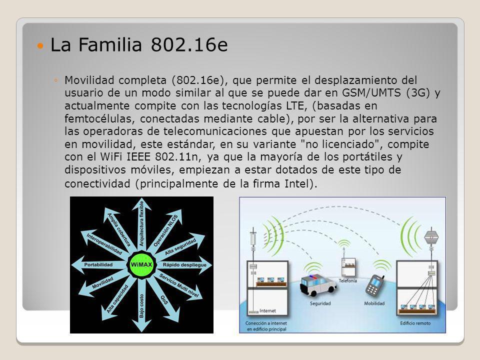 La Familia 802.16e Movilidad completa (802.16e), que permite el desplazamiento del usuario de un modo similar al que se puede dar en GSM/UMTS (3G) y a