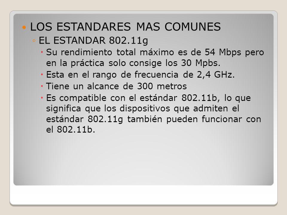 LOS ESTANDARES MAS COMUNES EL ESTANDAR 802.11g Su rendimiento total máximo es de 54 Mbps pero en la práctica solo consige los 30 Mpbs. Esta en el rang