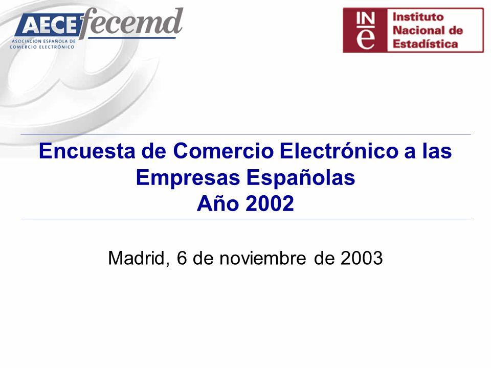 Encuesta de Comercio Electrónico a las Empresas Españolas Año 2002 Madrid, 6 de noviembre de 2003