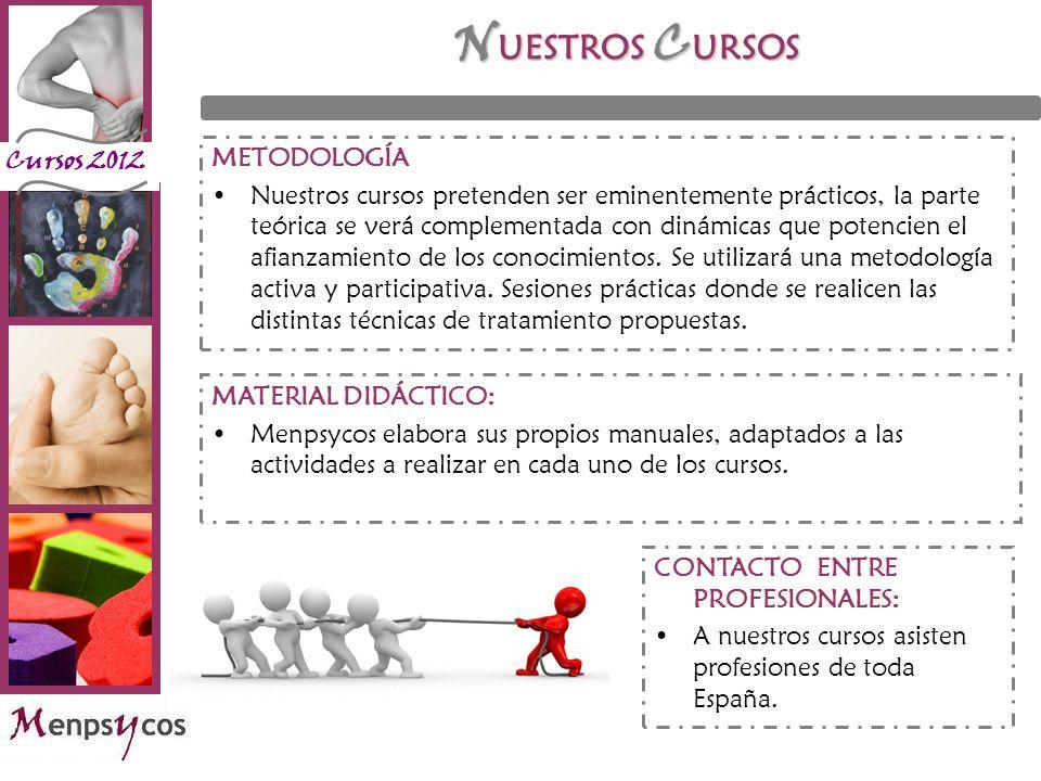 Cursos 2012 N UESTROS C URSOS METODOLOGÍA Nuestros cursos pretenden ser eminentemente prácticos, la parte teórica se verá complementada con dinámicas