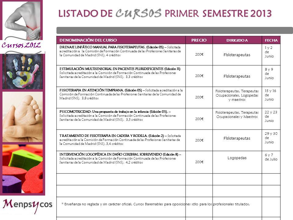 Cursos 2012 LISTADO DE CURSOS PRIMER SEMESTRE 2013 DENOMINACIÓN DEL CURSOPRECIO DIRIGIDO AFECHA DRENAJE LINFÁTICO MANUAL PARA FISIOTERAPEUTAS. (Edició