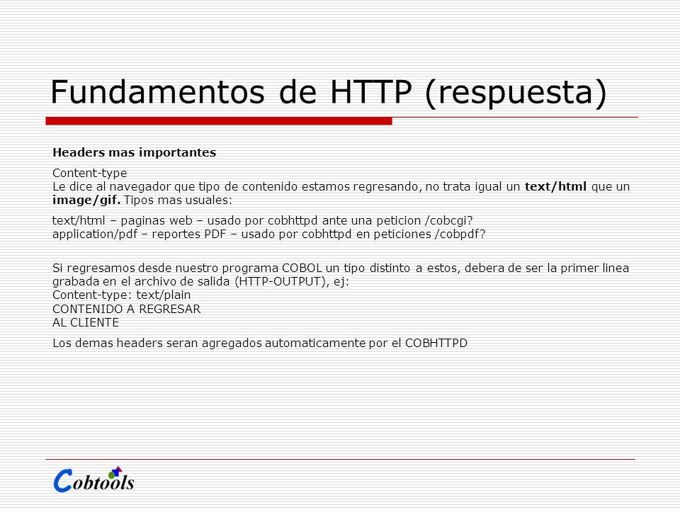 Fundamentos de HTTP (respuesta) Headers mas importantes Content-type Le dice al navegador que tipo de contenido estamos regresando, no trata igual un