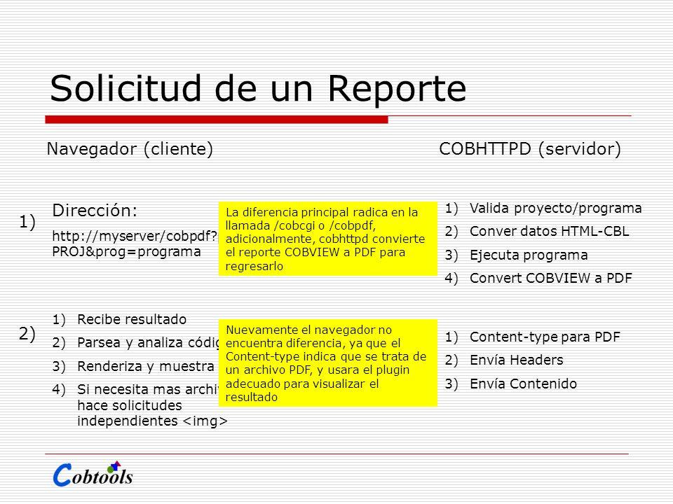 Solicitud de un Reporte Navegador (cliente)COBHTTPD (servidor) Dirección: http://myserver/cobpdf?proid= PROJ&prog=programa 1)Valida proyecto/programa