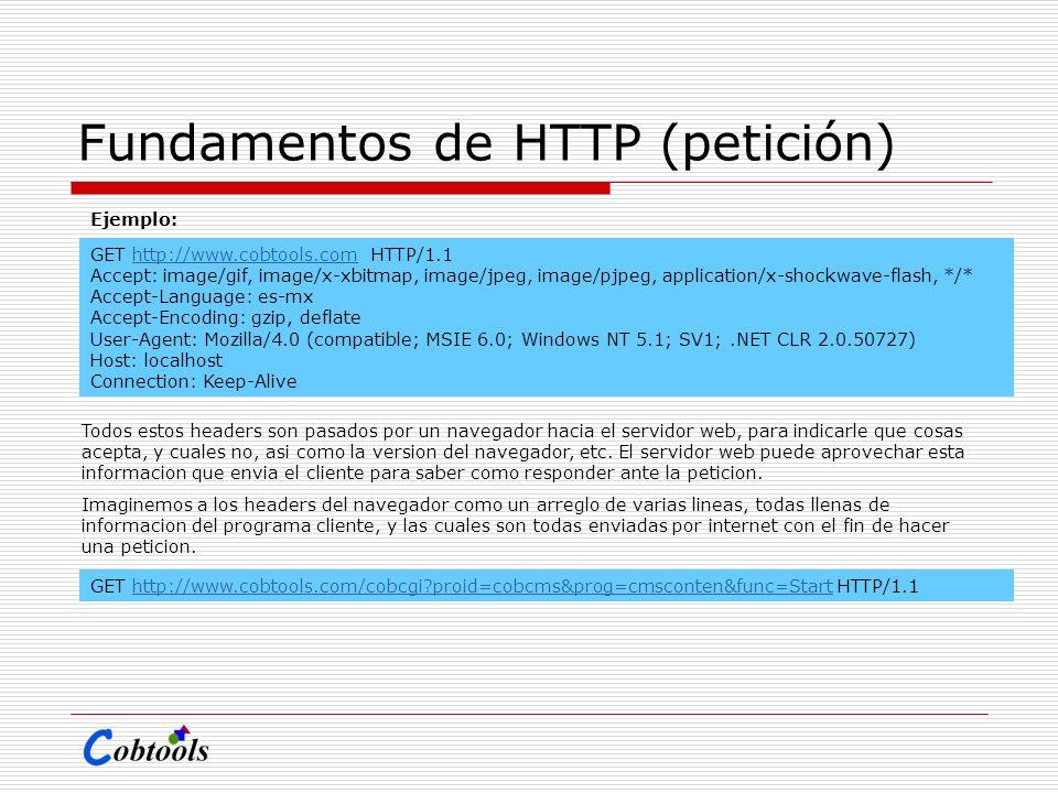 Fundamentos de HTTP (petición) GET http://www.cobtools.com HTTP/1.1http://www.cobtools.com Accept: image/gif, image/x-xbitmap, image/jpeg, image/pjpeg