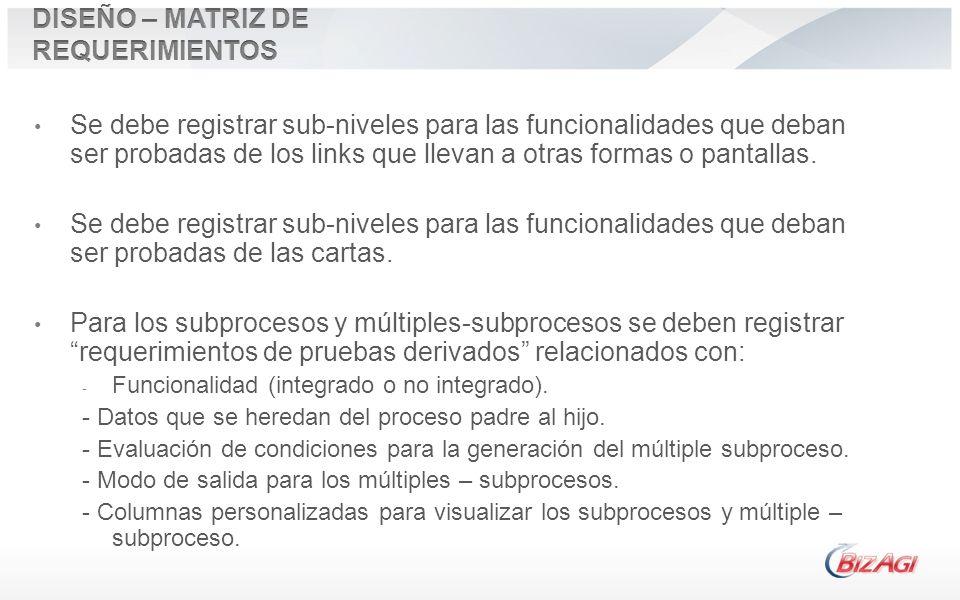 Se debe registrar sub-niveles para las funcionalidades que deban ser probadas de los links que llevan a otras formas o pantallas. Se debe registrar su