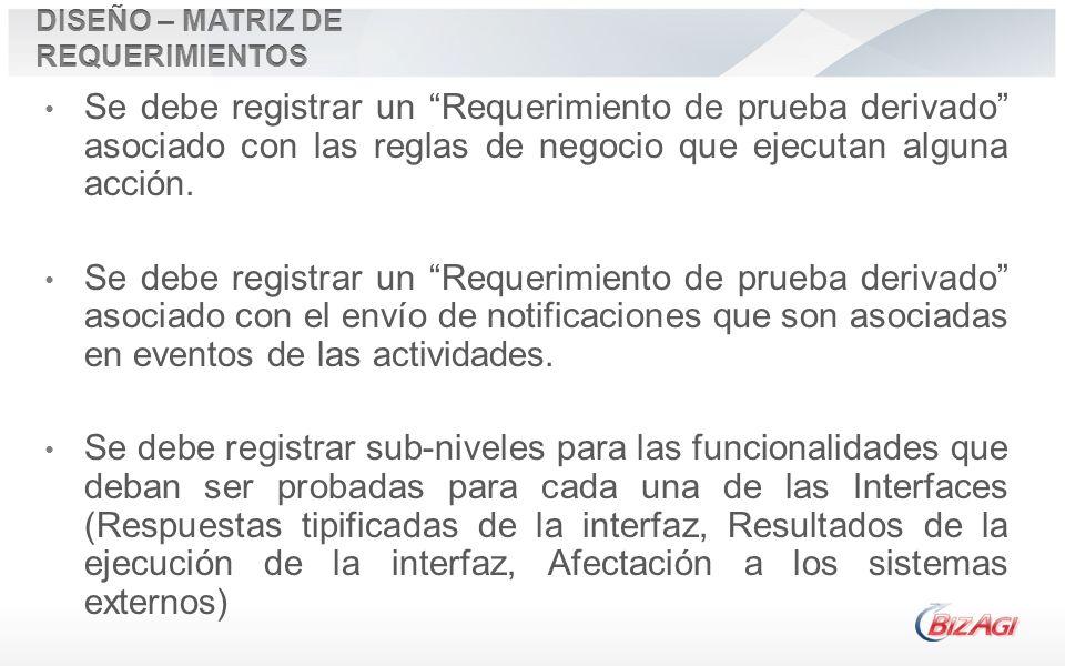 Se debe registrar un Requerimiento de prueba derivado asociado con las reglas de negocio que ejecutan alguna acción. Se debe registrar un Requerimient