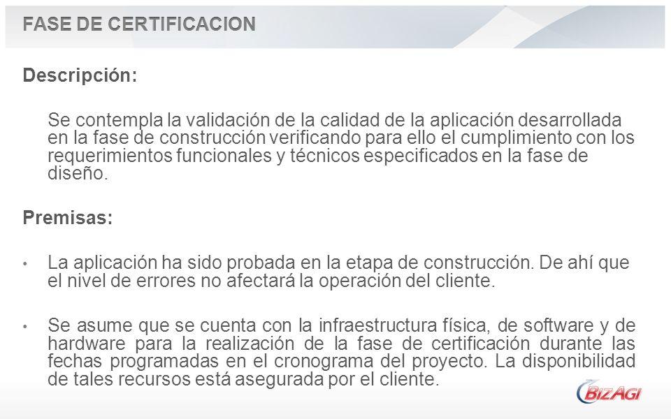 Descripción: Se contempla la validación de la calidad de la aplicación desarrollada en la fase de construcción verificando para ello el cumplimiento c