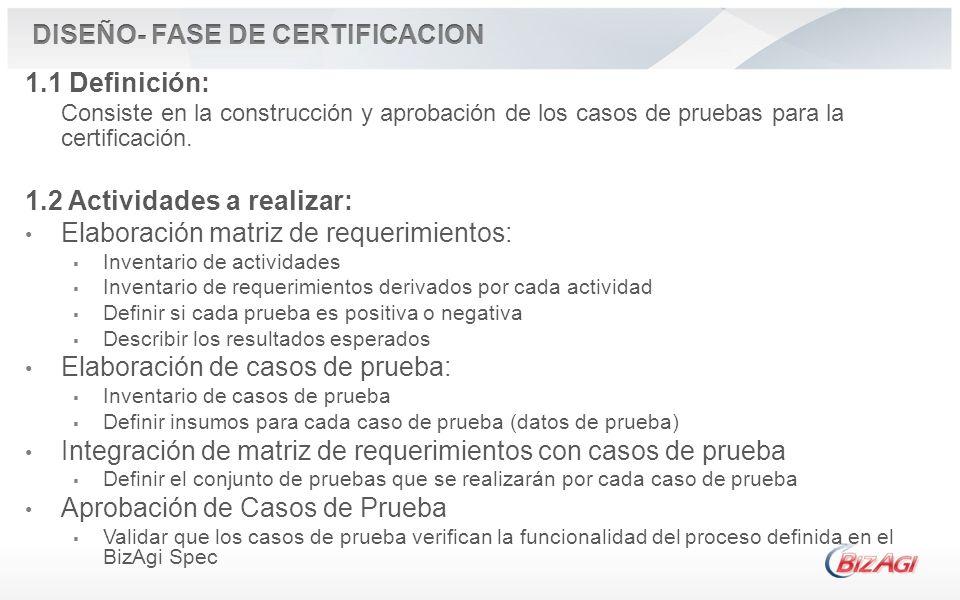 1.1 Definición: Consiste en la construcción y aprobación de los casos de pruebas para la certificación. 1.2 Actividades a realizar: Elaboración matriz