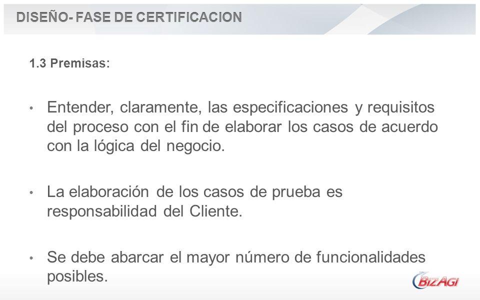 1.3 Premisas: Entender, claramente, las especificaciones y requisitos del proceso con el fin de elaborar los casos de acuerdo con la lógica del negoci