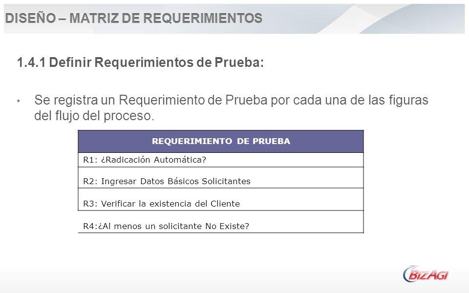 1.4.1 Definir Requerimientos de Prueba: Se registra un Requerimiento de Prueba por cada una de las figuras del flujo del proceso. REQUERIMIENTO DE PRU