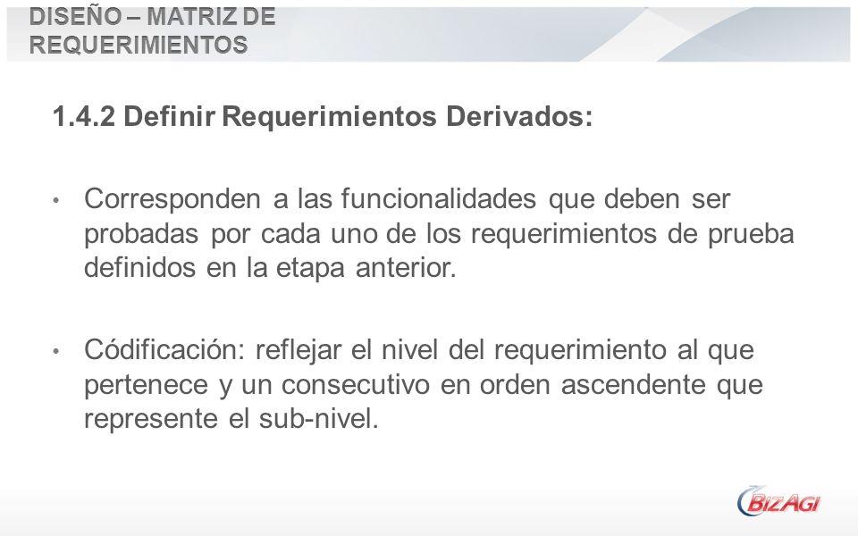 1.4.2 Definir Requerimientos Derivados: Corresponden a las funcionalidades que deben ser probadas por cada uno de los requerimientos de prueba definid