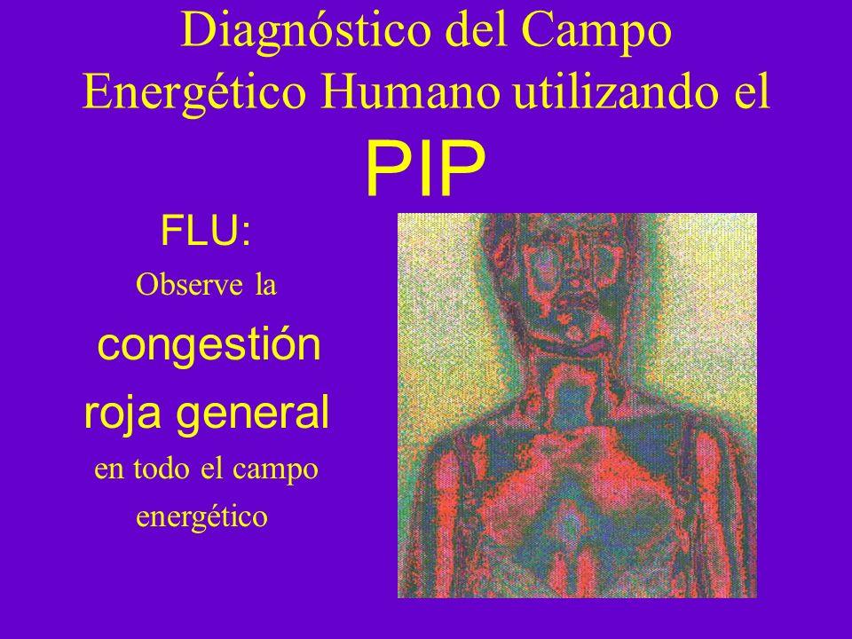 Diagnóstico del Campo Energético Humano utilizando el PIP FLU: Observe la congestión roja general en todo el campo energético