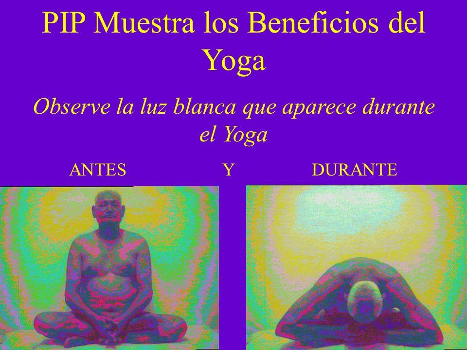 PIP Muestra los Beneficios del Yoga Observe la luz blanca que aparece durante el Yoga ANTES Y DURANTE