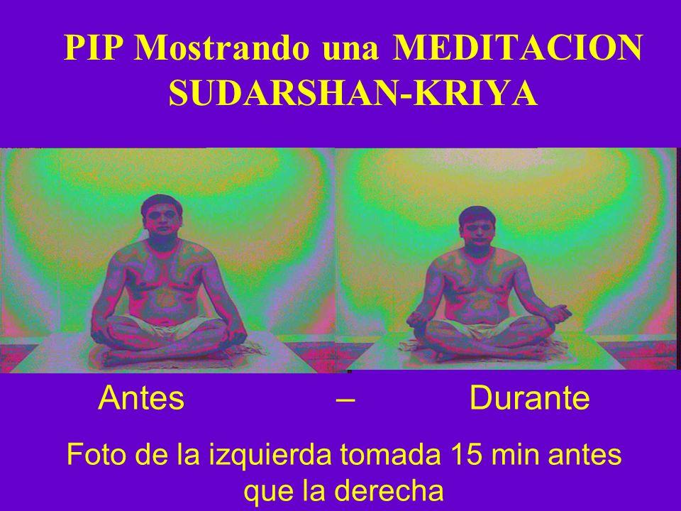PIP Mostrando una MEDITACION SUDARSHAN-KRIYA Antes – Durante Foto de la izquierda tomada 15 min antes que la derecha