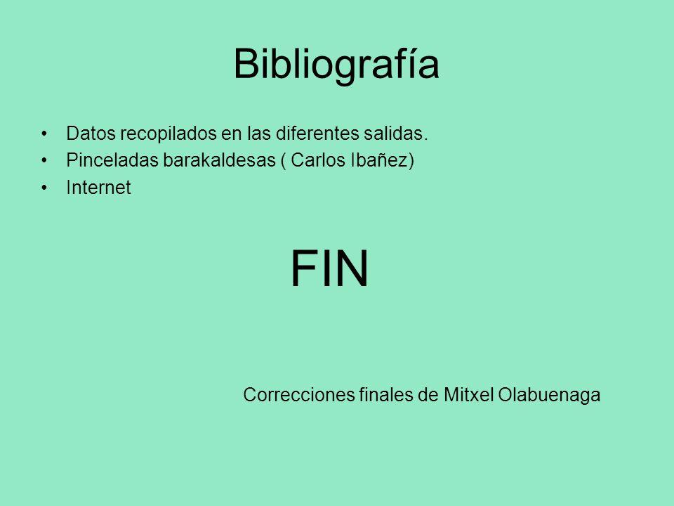 Bibliografía Datos recopilados en las diferentes salidas. Pinceladas barakaldesas ( Carlos Ibañez) Internet FIN Correcciones finales de Mitxel Olabuen