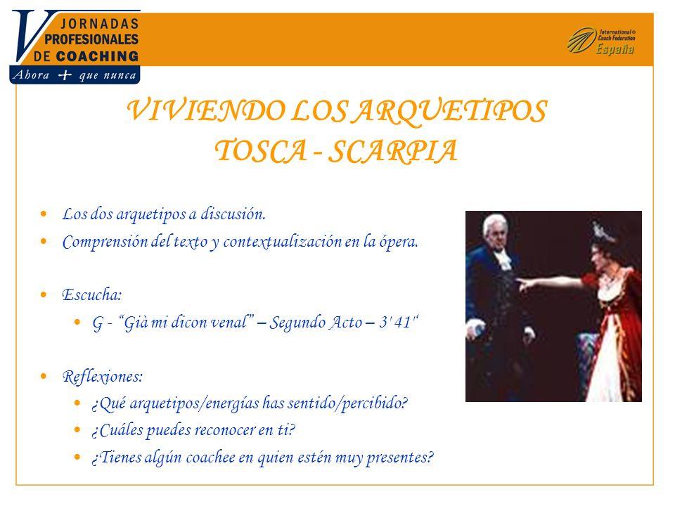 VIVIENDO LOS ARQUETIPOS TOSCA - SCARPIA Los dos arquetipos a discusión. Comprensión del texto y contextualización en la ópera. Escucha: G - Già mi dic