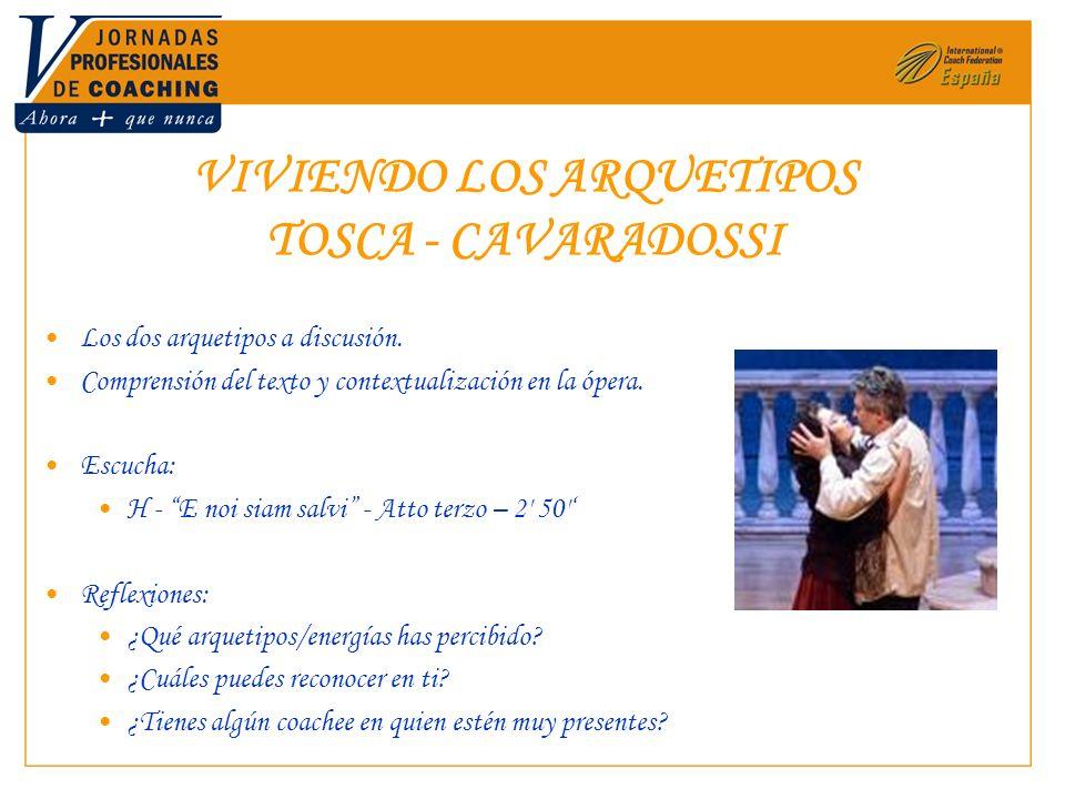 VIVIENDO LOS ARQUETIPOS TOSCA - CAVARADOSSI Los dos arquetipos a discusión. Comprensión del texto y contextualización en la ópera. Escucha: H - E noi