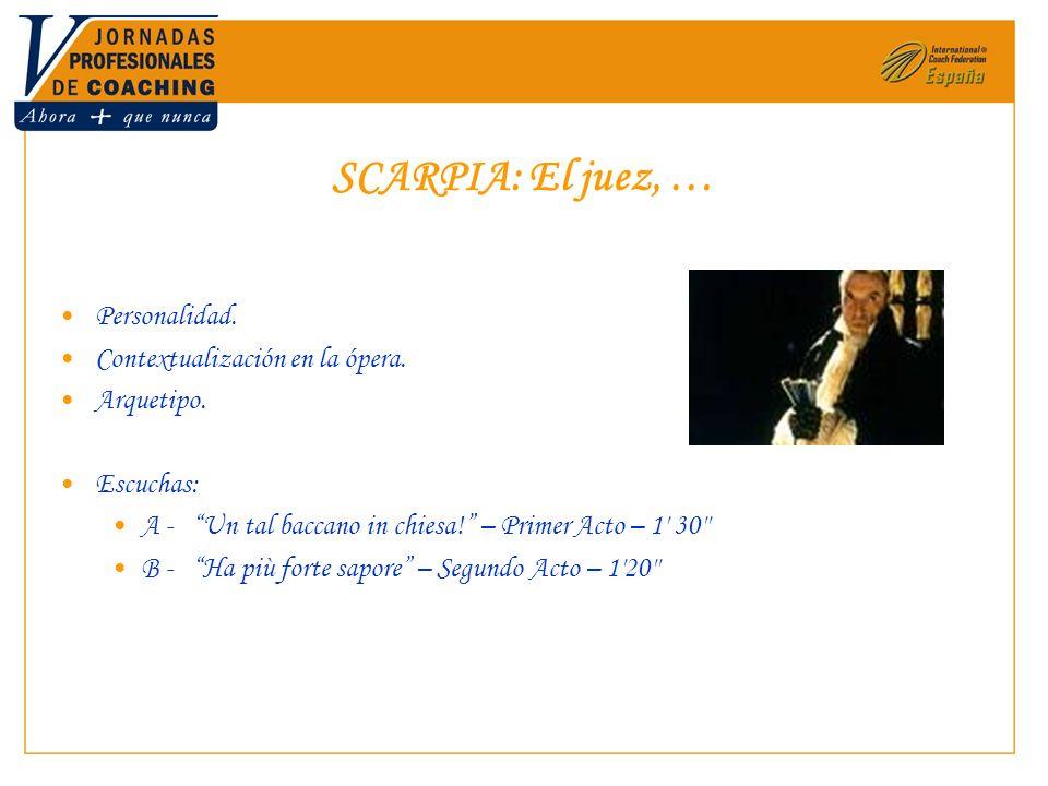SCARPIA: El juez, … Personalidad. Contextualización en la ópera. Arquetipo. Escuchas: A - Un tal baccano in chiesa! – Primer Acto – 1' 30'' B - Ha più