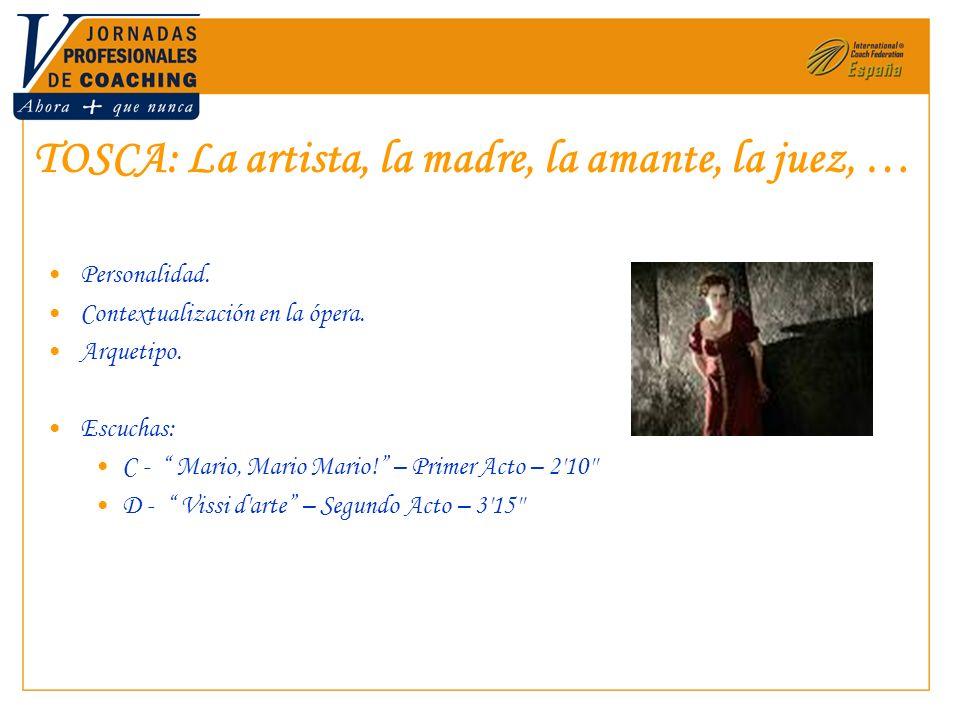 TOSCA: La artista, la madre, la amante, la juez, … Personalidad. Contextualización en la ópera. Arquetipo. Escuchas: C - Mario, Mario Mario! – Primer