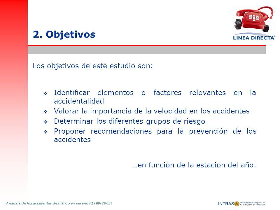 Análisis de los accidentes de tráfico en verano (1999-2003) 2. Objetivos Los objetivos de este estudio son: Identificar elementos o factores relevante