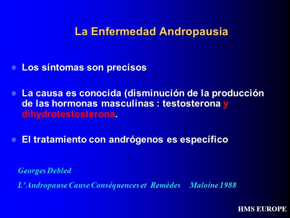 La Enfermedad Andropausia Los síntomas son precisos La causa es conocida (disminución de la producción de las hormonas masculinas : testosterona y dih