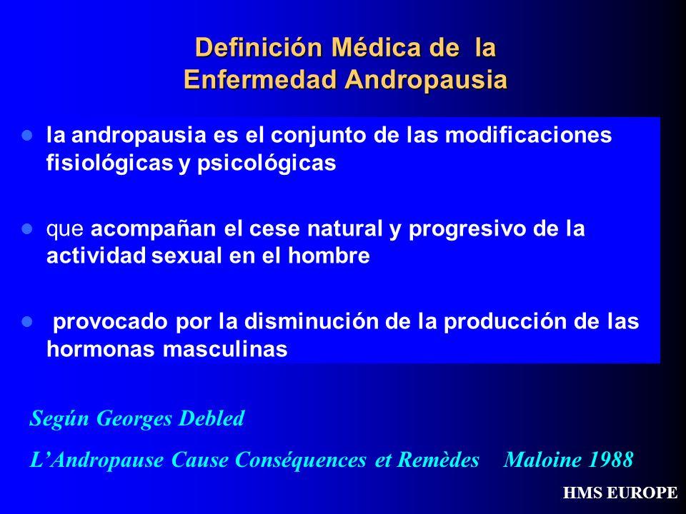 Definición Médica de la Enfermedad Andropausia la andropausia es el conjunto de las modificaciones fisiológicas y psicológicas que acompañan el cese n