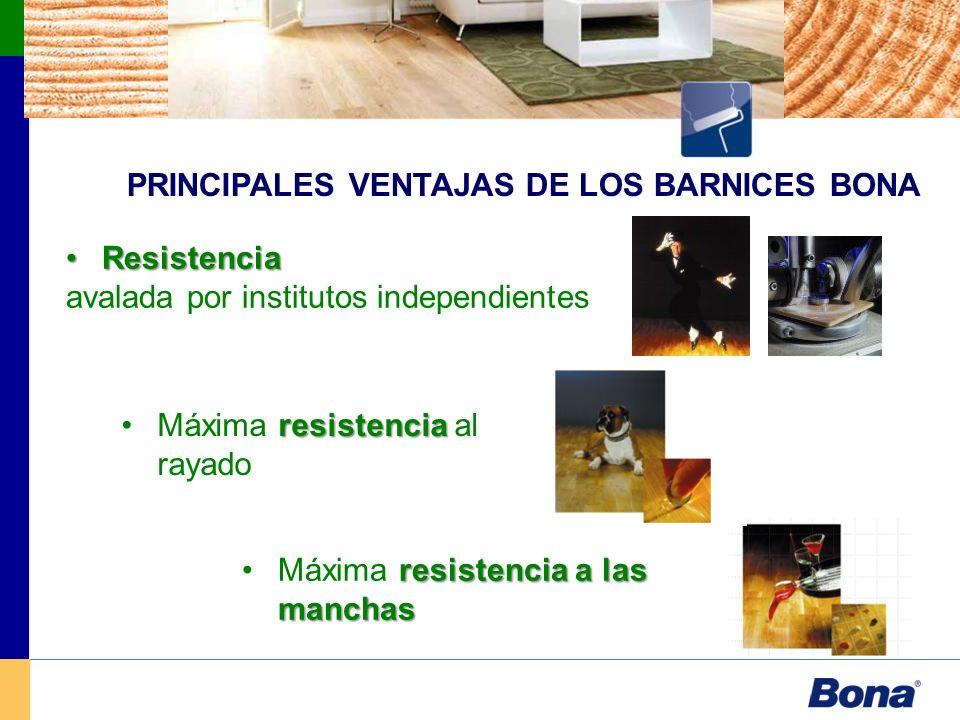 PRINCIPALES VENTAJAS DE LOS BARNICES BONA ResistenciaResistencia avalada por institutos independientes resistenciaMáxima resistencia al rayado resiste
