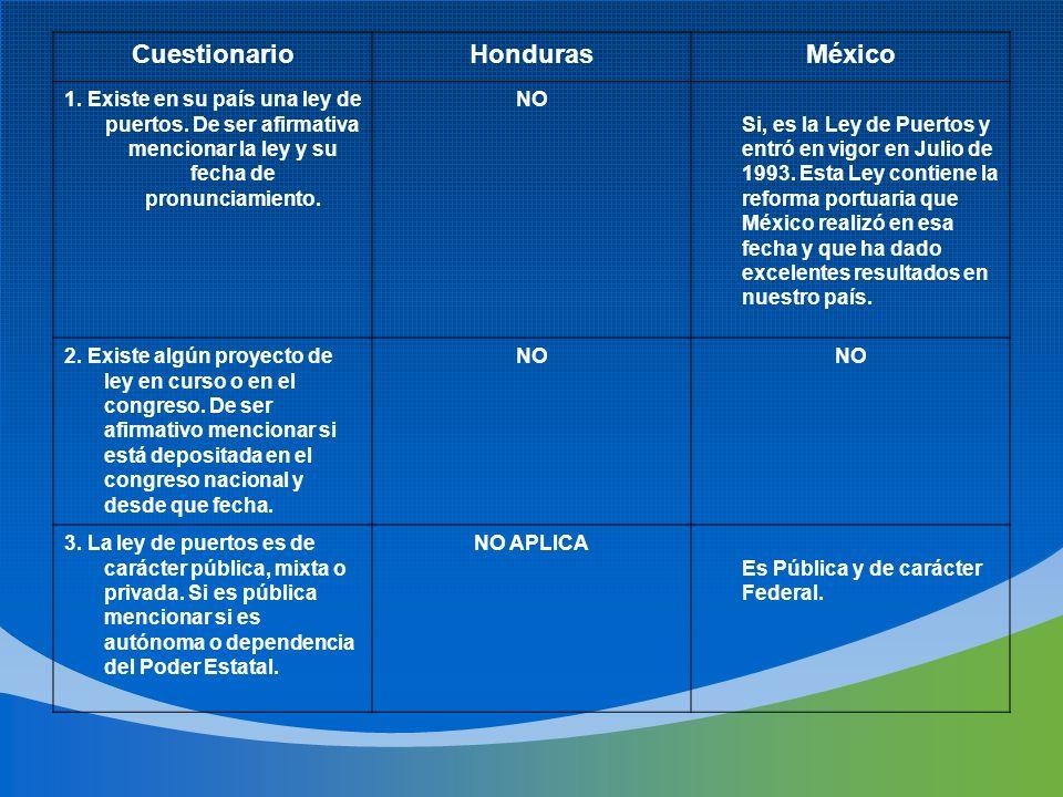 CuestionarioHondurasMéxico 1. Existe en su país una ley de puertos. De ser afirmativa mencionar la ley y su fecha de pronunciamiento. NO Si, es la Ley