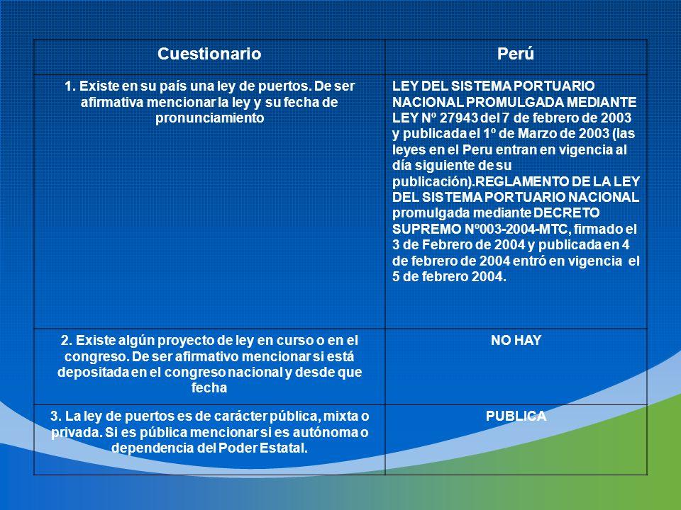 CuestionarioPerú 1. Existe en su país una ley de puertos. De ser afirmativa mencionar la ley y su fecha de pronunciamiento LEY DEL SISTEMA PORTUARIO N