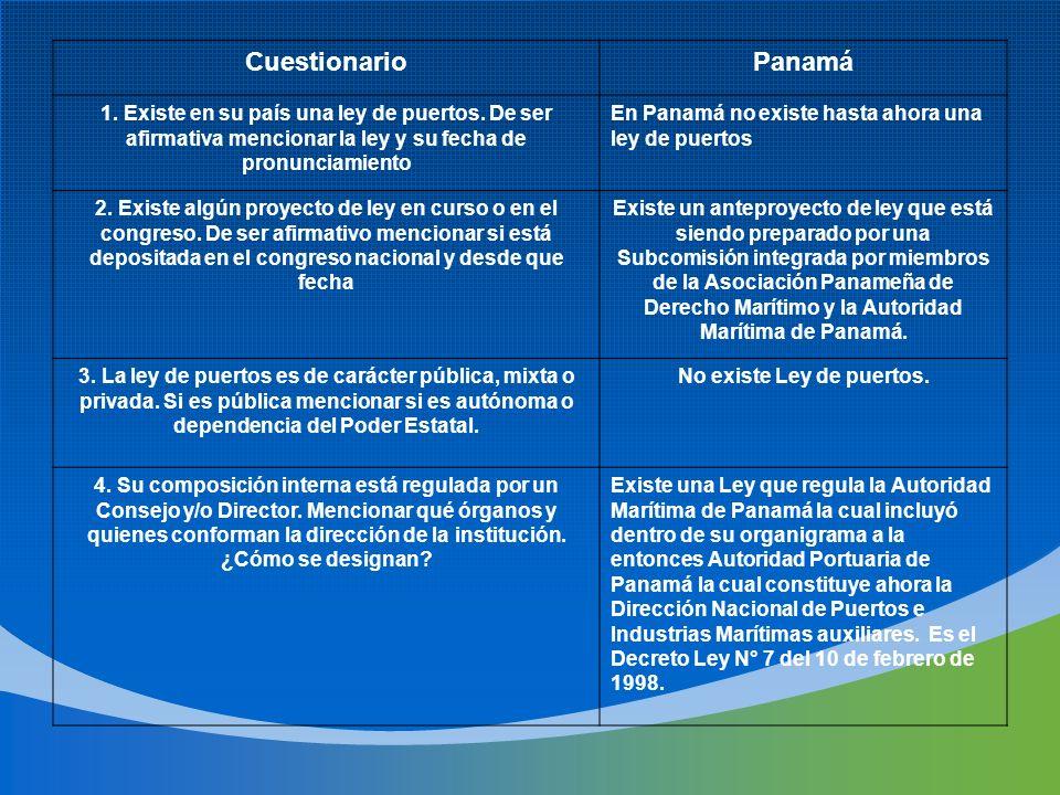 CuestionarioPanamá 1. Existe en su país una ley de puertos. De ser afirmativa mencionar la ley y su fecha de pronunciamiento En Panamá no existe hasta