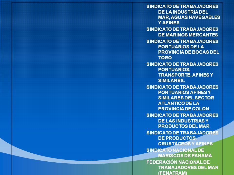 SINDICATO DE TRABAJADORES DE LA INDUSTRIA DEL MAR, AGUAS NAVEGABLES Y AFINES SINDICATO DE TRABAJADORES DE MARINOS MERCANTES SINDICATO DE TRABAJADORES