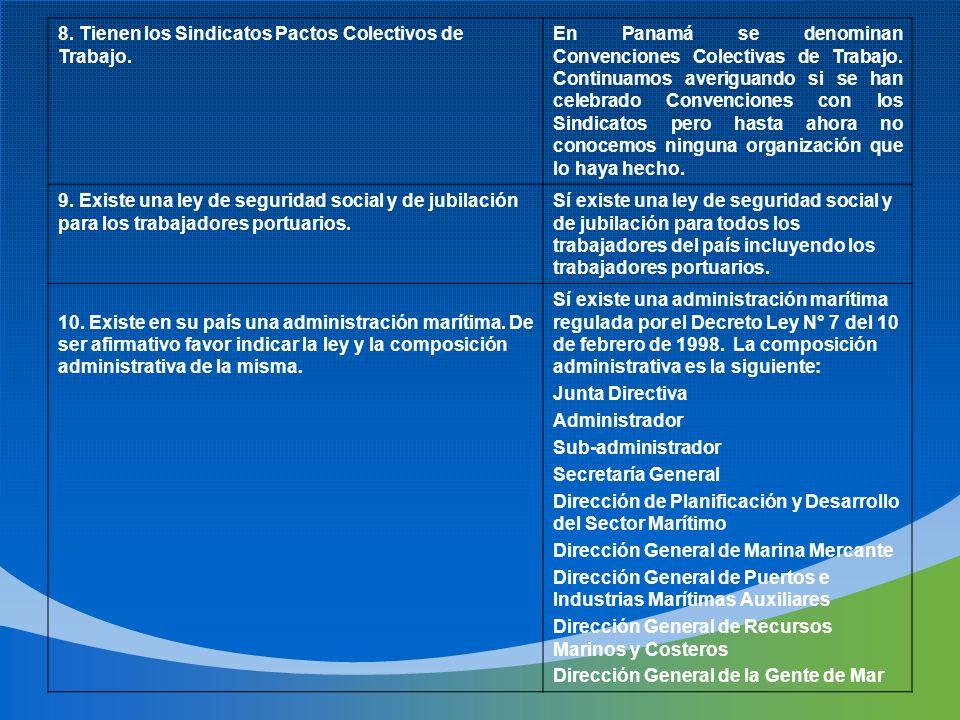 8. Tienen los Sindicatos Pactos Colectivos de Trabajo. En Panamá se denominan Convenciones Colectivas de Trabajo. Continuamos averiguando si se han ce