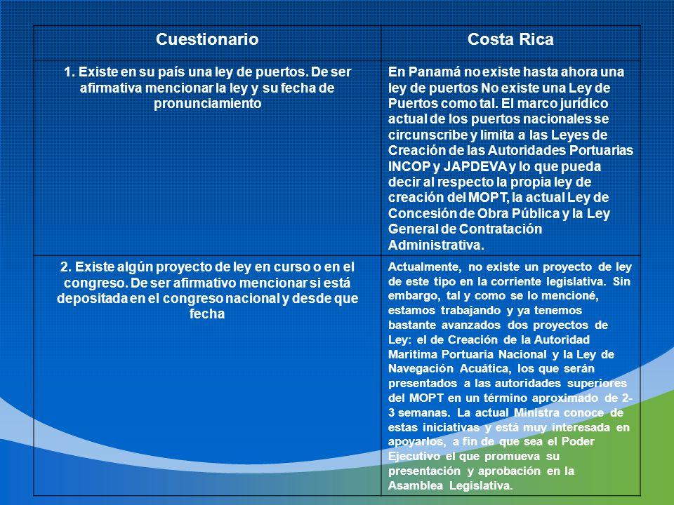 CuestionarioCosta Rica 1. Existe en su país una ley de puertos. De ser afirmativa mencionar la ley y su fecha de pronunciamiento En Panamá no existe h
