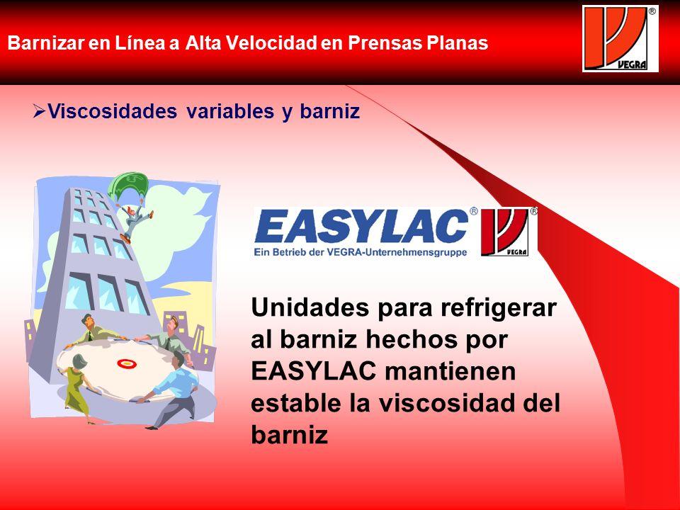 Barnizar en Línea a Alta Velocidad en Prensas Planas Viscosidades variables y barniz Unidades para refrigerar al barniz hechos por EASYLAC mantienen e