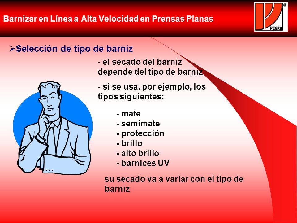 Barnizar en Línea a Alta Velocidad en Prensas Planas Selección de tipo de barniz - el secado del barniz depende del tipo de barniz - si se usa, por ej