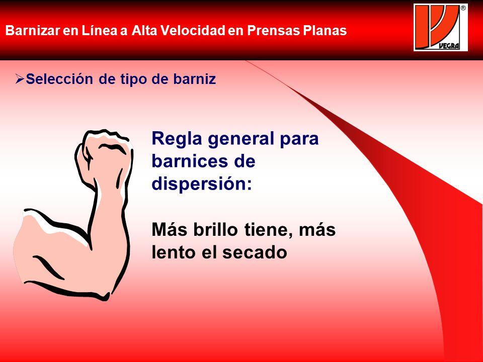 Barnizar en Línea a Alta Velocidad en Prensas Planas Selección de tipo de barniz Más brillo tiene, más lento el secado Regla general para barnices de
