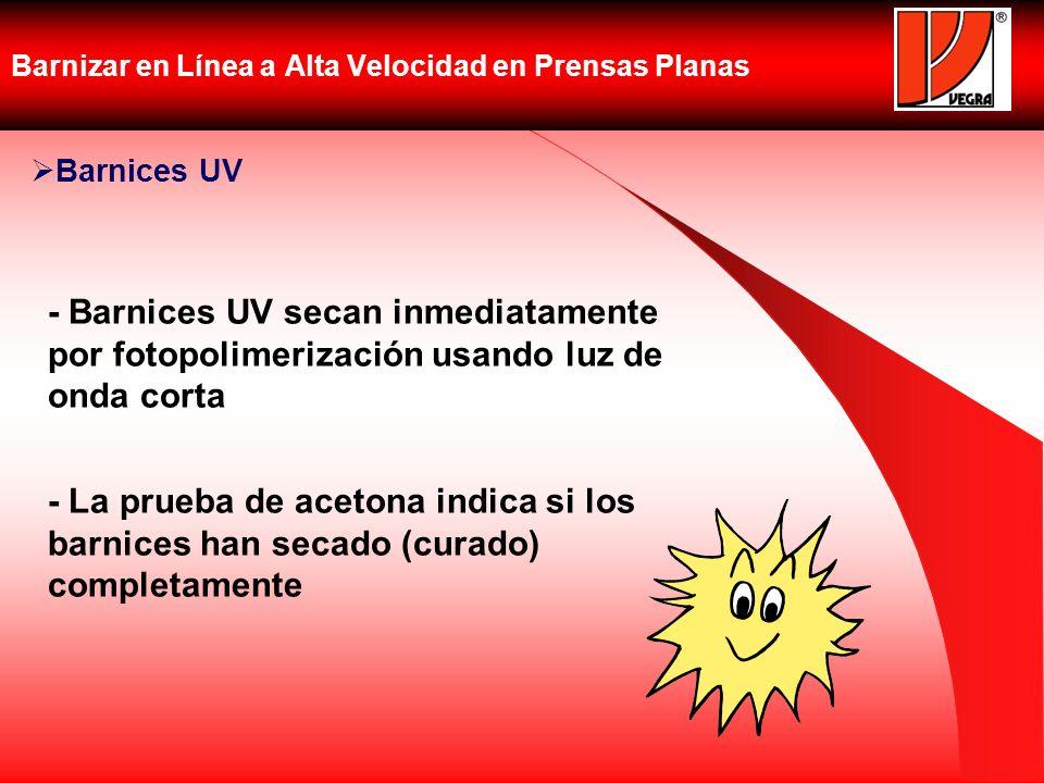 Barnizar en Línea a Alta Velocidad en Prensas Planas Barnices UV - Barnices UV secan inmediatamente por fotopolimerización usando luz de onda corta -