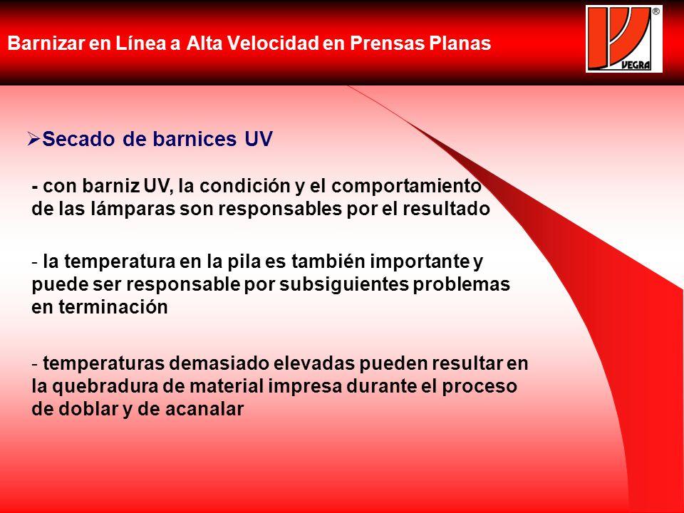 Barnizar en Línea a Alta Velocidad en Prensas Planas Secado de barnices UV - con barniz UV, la condición y el comportamiento de las lámparas son respo