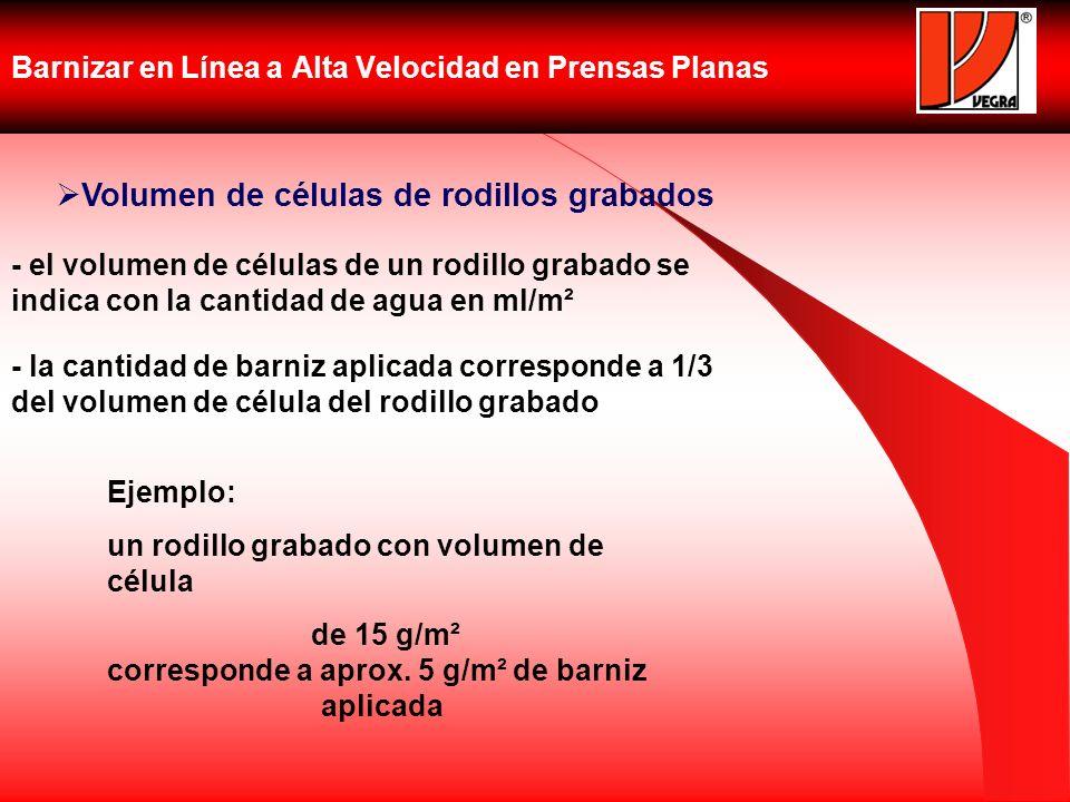 Barnizar en Línea a Alta Velocidad en Prensas Planas Volumen de células de rodillos grabados - el volumen de células de un rodillo grabado se indica c